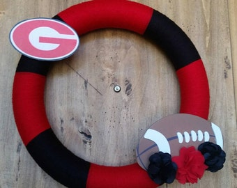 Georgia Bulldogs Wreath, SUU Wreath, Black and Red Wreath, University of Georgia, Utah Utes, Atlanta Falcons, Reds, Bulls, Heat, New Mexico