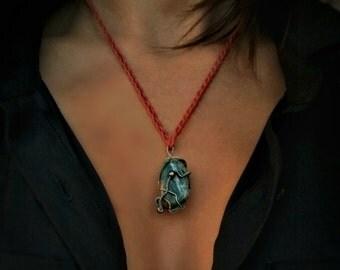 Bloodstone Wire Wrap Necklace