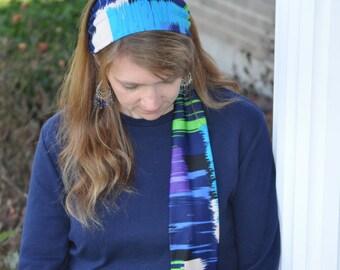 Women's Purple, Blue, Green, White Stretch Hair Wrap, Headband, Headscarf, Hair Tie, Headcovering, Head Covering, handmade gift, unique gift