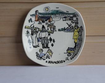 Stavangerflint Norway souvenir plate - 1970's Scandinavian - Namsos - Handpainted