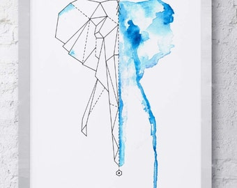 Abstract Geometric Watercolor Elephant