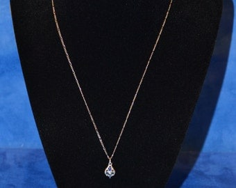 PC-037: 3.4g Vintage Solid Silver Figaro Chain 17.75 Sterling Necklace w/Blue Stone Solid Silver Pendant