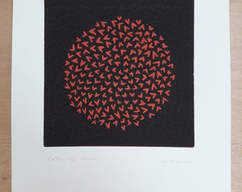 Lots of love (red/black); linocut; original