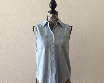 1980s Light Blue Blouse, Vintage Blouse, Denim Blouse