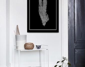 Black New York Map, New York City, Black Manhattan, Black Map Print, Black NYC, New York Print, NY City Map Print, Manhattan, Black Print
