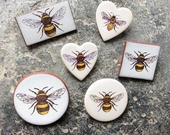 Bee Brooch, Ceramic Bee Brooch, Honey Bee Brooch, Bumble Bee Brooch, Bee Jewellery, Save the bees, Garden Gift.