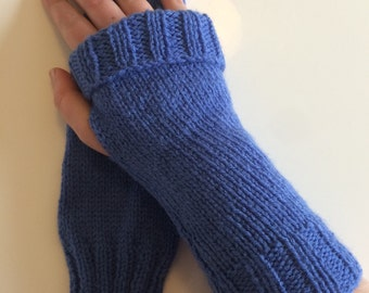 Blue Fingerless Wrist Warmers