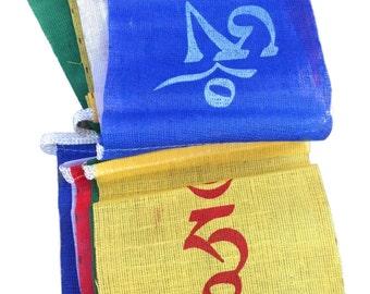 10 Om Mani Padme Hum prayer flags- 6 realms, Cotton, Tibetan, Handmade