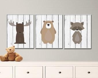 "Woodland Nursery Art Print Set. Includes Bear, Moose and Raccoon Art Prints. - Set of 3 -8x10"" Printable Art Prints - S160"