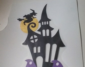 Laminated haunted house, witch, pumpkins, Halloween decor