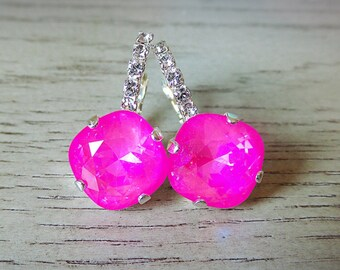 Hot Pink Dangle Earrings, Prom Earrings, Swarovski Crystal, Hot Pink Jewelry, Rhinestone Dangle Earrings, Swarovski Ultra Pink AB