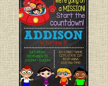 Little Einsteins Invitation Happy Birthday Party Invite - Party Chalkboard Invitation - Any Age - Customized Digital File - You Print