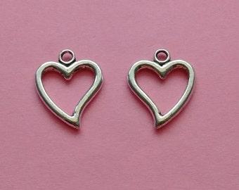 10 Heart Charms Hollow Silver - CS2333