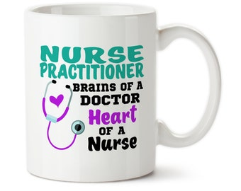Coffee Mug, Nurse Practitioner, Brains Of A Doctor, Heart Of A Nurse, Gift For Nurse Practitioner, Medical Mug, Gift for nurse, Nurse gift