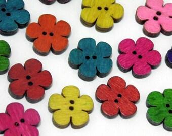 12 Wooden Flower Buttons #EB4