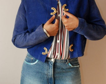 vintage suede leather cropped COBALT BLUE jacket S M