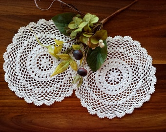 "Vintage Doilies. Off White 8.5"" Crocheted Rings Doilies. Handmade Crochet Pair. Matching Doilies. Home Decor."