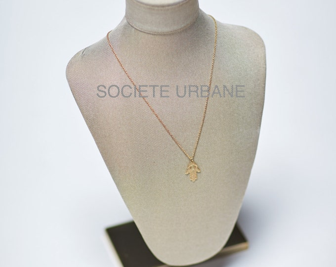Featured listing image: SALE Gold Hamsa Necklace- Hand of Fantima-Protection- Layering Necklace- Gifts-Boho / Minimalist / Cool Jewelry by Societe Urbane™ SU002