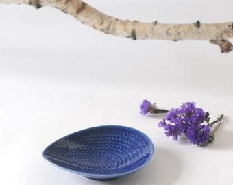 Hertha Bengtson Rorstrand pottery. Small dish. Blue Fire or Blå Eld. Made in Sweden. Scandinavian Modern
