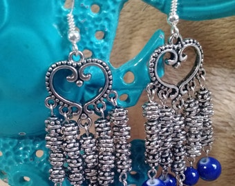 Silver and blue heart chandelier earrings