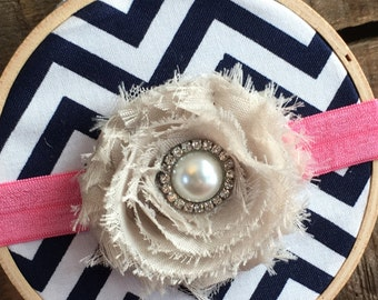 Pearl and Rhinestone Rosette Headband