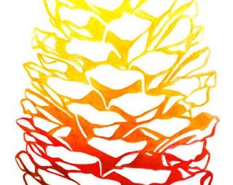 Pinecone Watercolor Print - Warm Ombre Pinecone