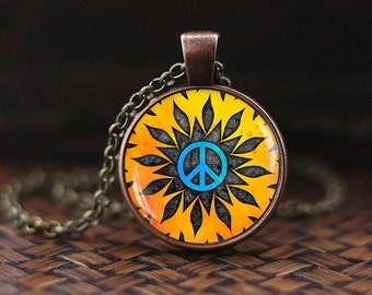Hippie necklace, Hippie pendant, Hippie jewelry, Peace sign necklace, peace jewelry, peace pendant
