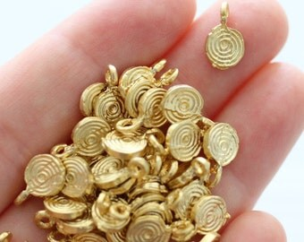 15pc matte gold disc beads, spiral beads, metal beads, mini beads, tribal beads, metal charms, gold beads, round beads, EastVillageSupply