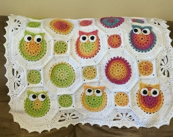 Free Crochet Pattern For Owl Baby Blanket : Crochet owl blanket Etsy
