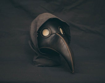 Plague Doctor  Mask Leather Black, Medieval Bird Mask, Steampunk Masquerade Halloween Mask