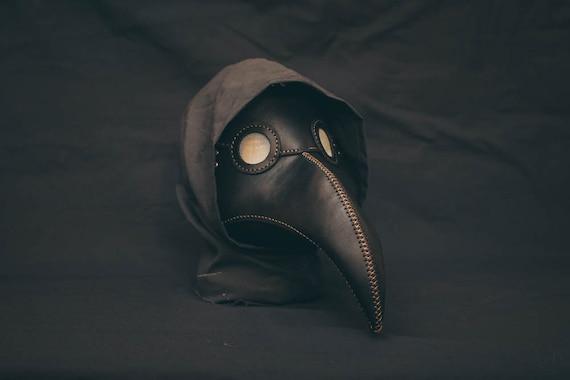 Plague Doctor  Mask Leather Black, Medieval Bird Mask, Steampunk Masquerade Halloween Mask