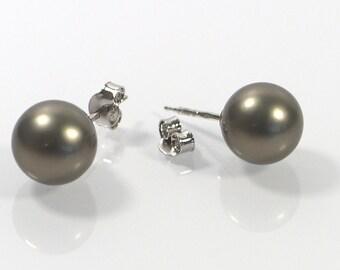 Grey Pearl Post Earrings , 10mm Shell Pearl Earrings , Sterling Silver 925 Earrings , Stud Earrings, Gift For Her