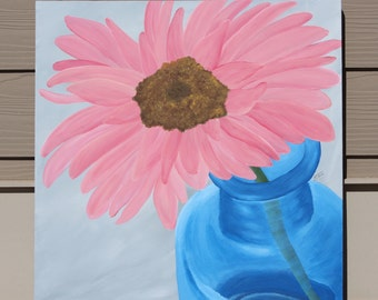 Pink Gerbera Daisy in Blue Bottle : Original Acrylic Painting on Stretched Canvas, 24x24 inches