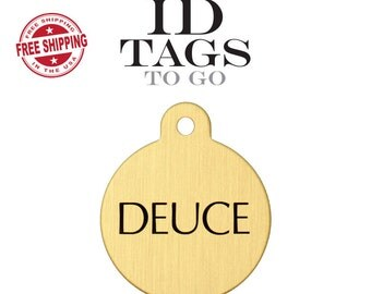 Large Pet ID Tag Brass engraved personalized dog and horse equine round circle pet name tag