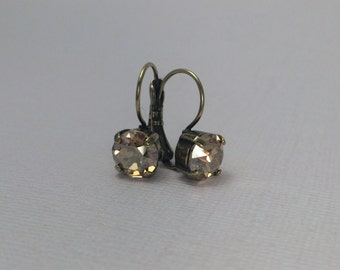 Swarovski Crystal Golden Shadow drop earrings in antique bronze finish, GRAND OPENING SALE- 25% off with coupon code!