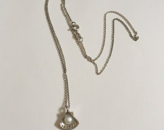 Vintage 925 Sterling Silver Sea Seashell Pearl Pendant Necklace