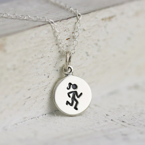 runners necklace sterling silver runner necklace running