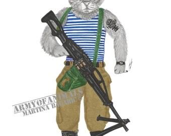 VDV Timofey, Original Animal Art Print, Russian Airforce, Patatrooper, Army, Pecheneg, Machine Gun, Cat, Vozdushno-desantnye voyska, Cute