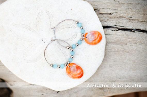 Blue, orange, silver & seal shell Earring hoops creole - Eye of Santa Lucia