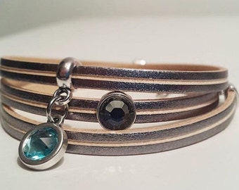 Wrap bracelet real leather with two Swarovski stones