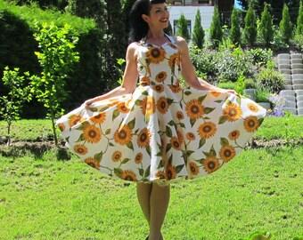 Pinup dress 'Sunflowers', rockabilly dress, romantic 50s dress with sunflowers, floral dress