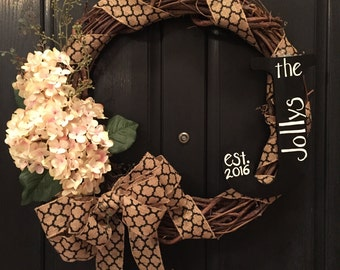 Wreaths for wedding gifts are lovely! Personalized gifts are even better!