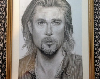 A3 Framed Charcoal Drawing of Brad Pitt