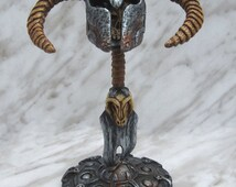 Skyrim mini rams horn helmet with sword and shield stand