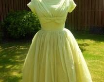 Original 1950's buttercup yellow full skirted dress