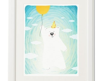 Flying bear with balloon -Instant download illustration-Animal kids wall art-Digital download kids poster-Kids gift