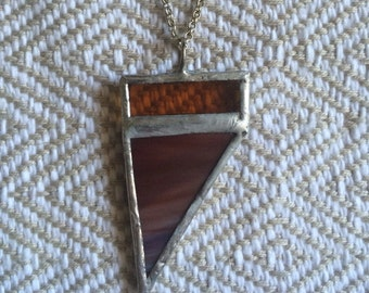 Mustard and Brown Stained Glass Pendant Necklace