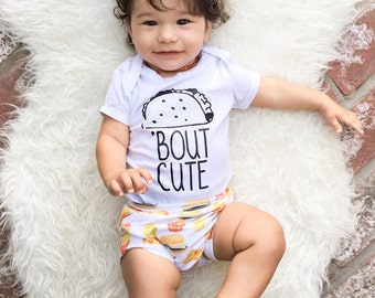 Taco bout cute, baby gift, taco outfit, funny baby shirt, baby shower gift, new baby gift, birthday outfit, taco tuesday, gifts for mom