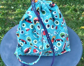 Monster Faces Toddler Kid Triangle Drawstring Toy Tote