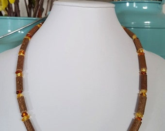 Baltic Amber and Hazelwood adult sized necklace for migraines, acid reflux, eczema, gum pain, etc.